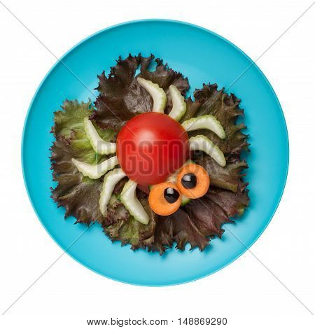 Amusing spider made of vegetables on plate