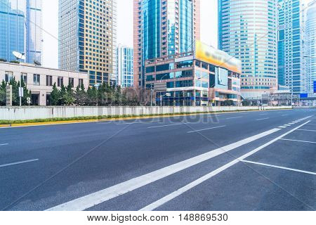 clean asphalt road in shanghai city,china.