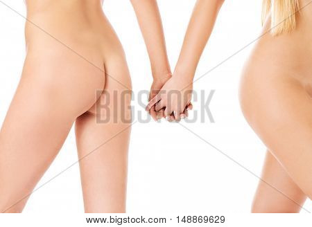 Hands of woman holding together