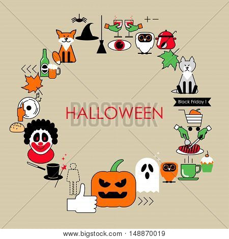 Halloween vector illustration of a flat line . Postcard set Halloween icons