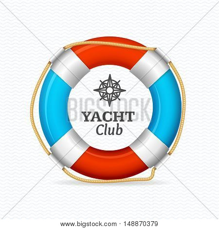 Life Buoy Yacht Club Corporate Sign Concept. Vector illustration