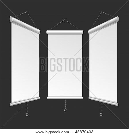 Blank Roll Up Banner Template. Mockup for Design. Vector illustration