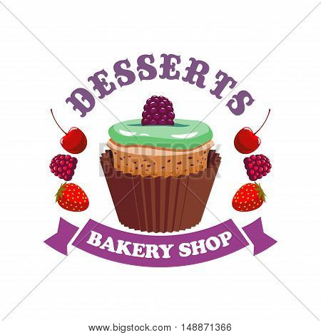Muffin cake with berries. Bakery shop emblem. Vector icon of sweet chocolate cupcake on plate, jelly topping, strawberry, raspberry, cherry, purple ribbon. Template for cafe menu card, cafeteria signboard, patisserie poster, bakery label