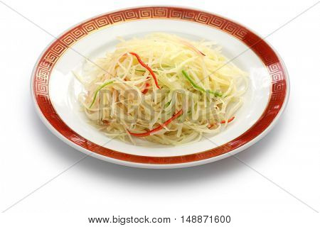 stir fried shredded potatoes, chinese cuisine