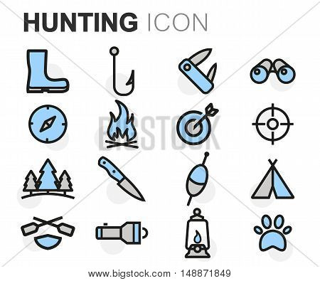Vector flat line hunting icons set on white background