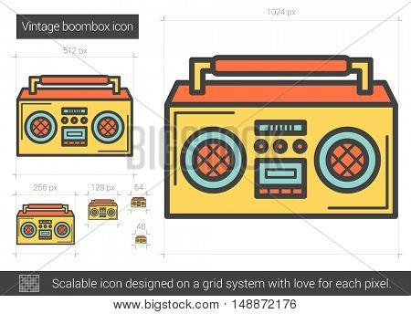 Vintage boombox vector line icon isolated on white background. Vintage boombox line icon for infographic, website or app. Scalable icon designed on a grid system.