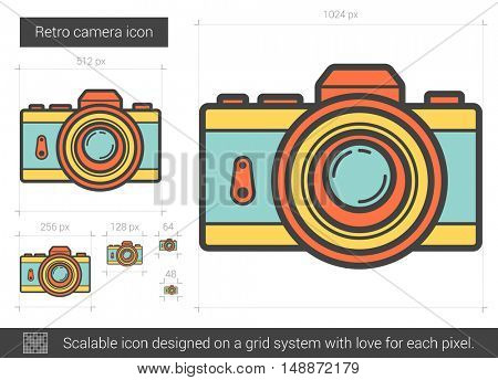 Retro camera vector line icon isolated on white background. Retro camera line icon for infographic, website or app. Scalable icon designed on a grid system.