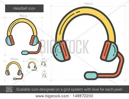 Headset vector line icon isolated on white background. Headset line icon for infographic, website or app. Scalable icon designed on a grid system.