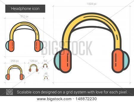 Headphone vector line icon isolated on white background. Headphone line icon for infographic, website or app. Scalable icon designed on a grid system.