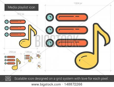 Media playlist vector line icon isolated on white background. Media playlist line icon for infographic, website or app. Scalable icon designed on a grid system.