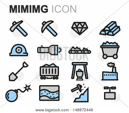 Vector flat line mining icons set on white background