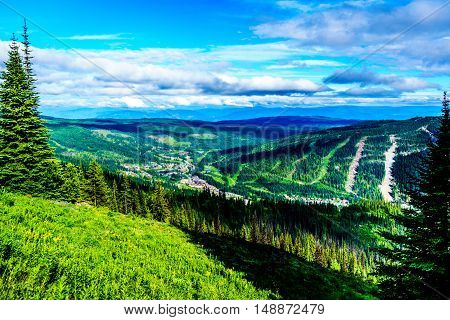View of the village of Sun Peaks from Tod Mountain in the Shuswap Highlands of British Columbia, Canada