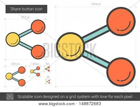 Share button vector line icon isolated on white background. Share button line icon for infographic, website or app. Scalable icon designed on a grid system.
