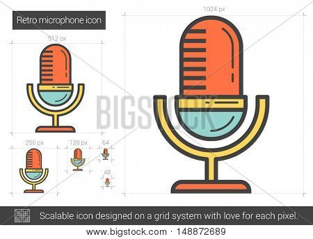 Retro microphone vector line icon isolated on white background. Retro microphone line icon for infographic, website or app. Scalable icon designed on a grid system.