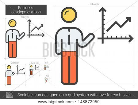 Business development vector line icon isolated on white background. Business development line icon for infographic, website or app. Scalable icon designed on a grid system.