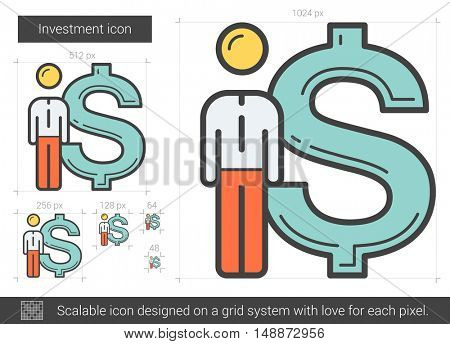 Investment vector line icon isolated on white background. Investment line icon for infographic, website or app. Scalable icon designed on a grid system.