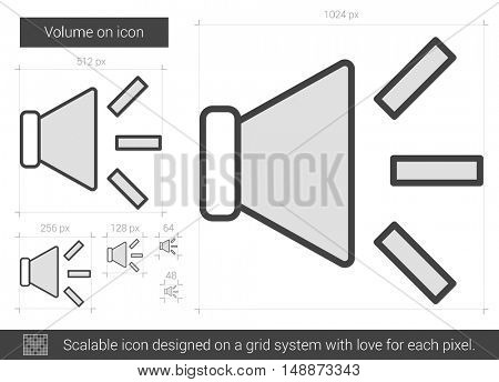 Volume on vector line icon isolated on white background. Volume on line icon for infographic, website or app. Scalable icon designed on a grid system.