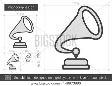 Phonographe vector line icon isolated on white background. Phonographe line icon for infographic, website or app. Scalable icon designed on a grid system.