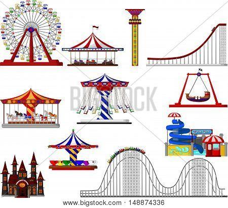 set of amusement park cartoon for you design