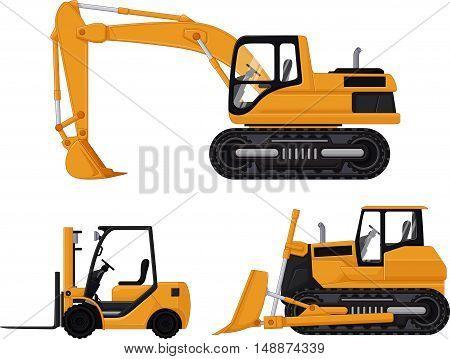 backhoe, forklift and bulldozer cartoon for you design