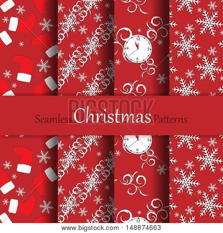 Seamless Christmas vector patterns set for wallpaper, wrapping, patterns, greetings, Christmas and New Year cards. Eps10