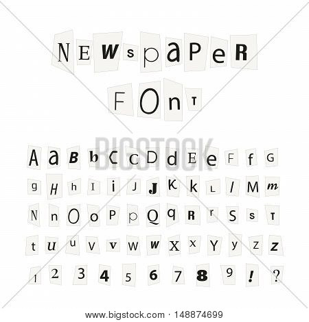Black newspaper letters font latin alphabet signs and numbers isolated on white