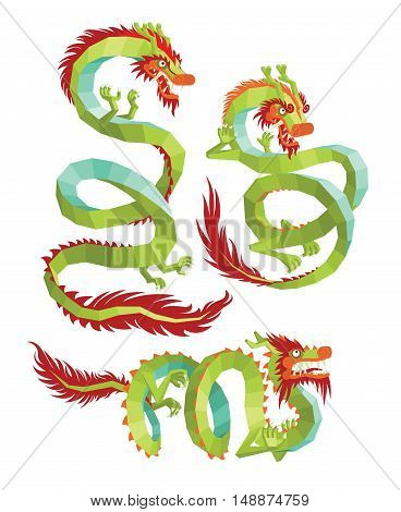 Set of Polygonal Chinese Dragons. Legendary Chinese Dragons on a White Background. Chinese Dragons Vector.