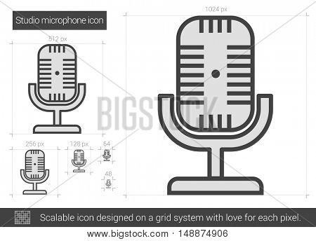 Studio microphone vector line icon isolated on white background. Studio microphone line icon for infographic, website or app. Scalable icon designed on a grid system.