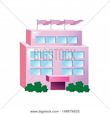 Icon big pink building on a white background. Vector illustration