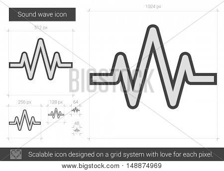 Sound wave vector line icon isolated on white background. Sound wave line icon for infographic, website or app. Scalable icon designed on a grid system.