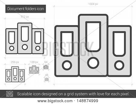 Document folders vector line icon isolated on white background. Document folders line icon for infographic, website or app. Scalable icon designed on a grid system.