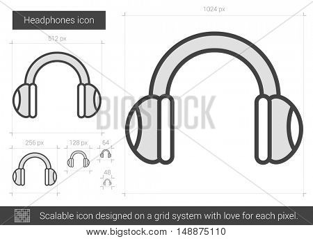 Headphones vector line icon isolated on white background. Headphones line icon for infographic, website or app. Scalable icon designed on a grid system.