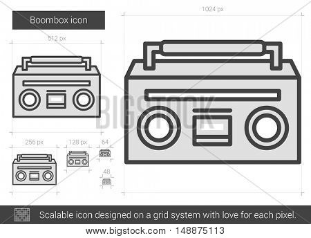 Boombox vector line icon isolated on white background. Boombox line icon for infographic, website or app. Scalable icon designed on a grid system.