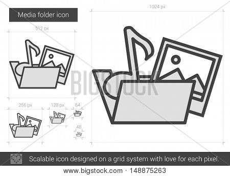 Media folder vector line icon isolated on white background. Media folder line icon for infographic, website or app. Scalable icon designed on a grid system.