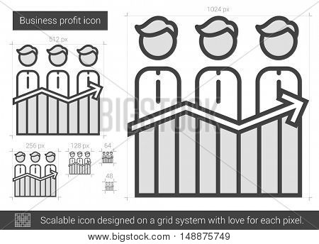 Business profit vector line icon isolated on white background. Business profit line icon for infographic, website or app. Scalable icon designed on a grid system.