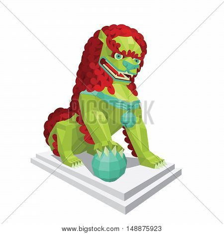 Polygonal chinese green Lion with red mane. Legendary creature - Asian Lion in mixed style isolated on a white background. Vector illustration of modern polygonal chinese lion for your design.