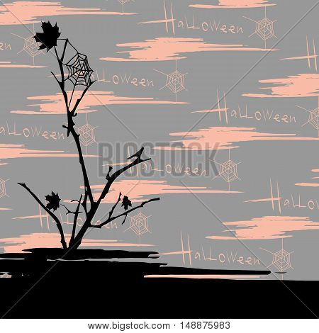 Halloween vector background over seamless grungy pattern. Elements for design. Eps10