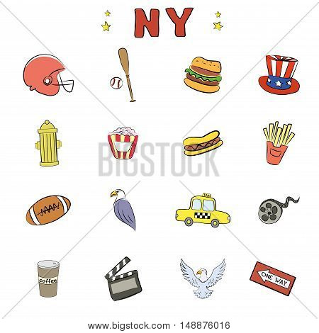 New York Icons or objectsdoodle vector illustration