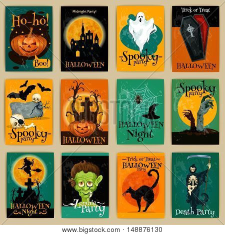 Complete set of retro posters, banners, invitation cards for Halloween party. Vector traditional Halloween elements and characters pumpkin, ghost, coffin, zombie, witch, cemetery, monster, bat cat