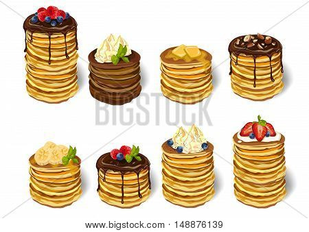 Stack delicious pancakes set: strawberry blueberry whipped cream chocolate banana honey butter mint on plate. Vector closeup side square beautiful fresh hot big breakfast illustration white background