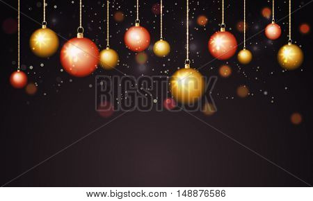 Glossy hanging xmas balls decorated background for Merry Christmas celebration.