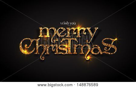Golden glittering text Merry Christmas on black background.
