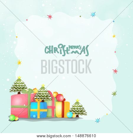 Greeting Card design with colorful gift boxes for Merry Christmas celebration.