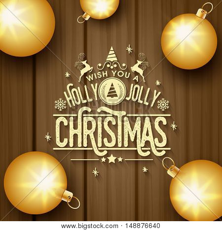 Golden Xmas Balls on wooden background, Elegant greeting card design for Merry Christmas celebration.