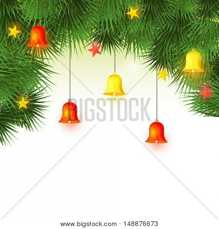 Merry Christmas celebration background decorated with fir tree branches, hanging jingle bells and stars.