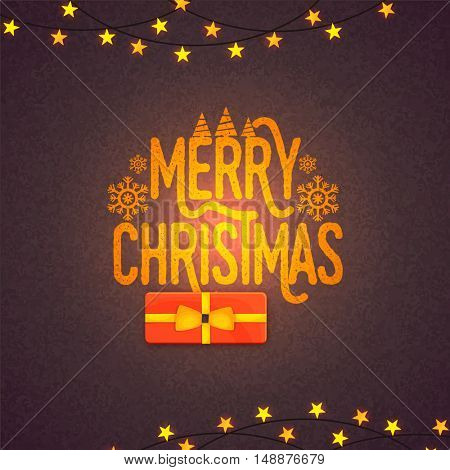 Greeting Card design with shiny text Merry Christmas on stars decorated grungy background.