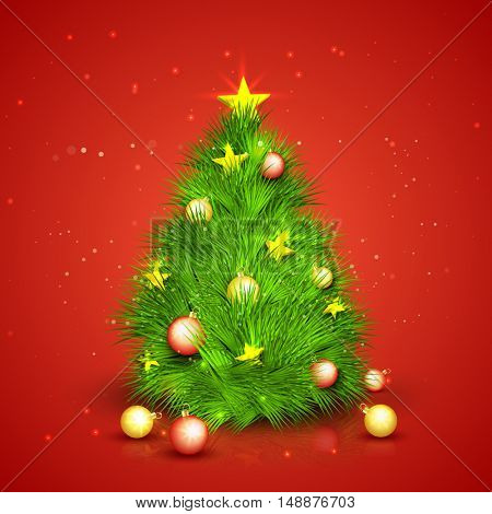 Creative Christmas Tree made by fir branches with glossy balls and golden stars on red background.