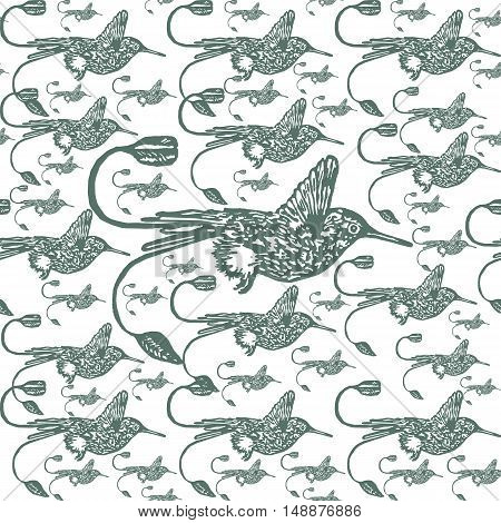 Linocut Hummingbird background. Vector Illustrated tropical Hummingbird seamless pattern.