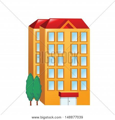 Icon big orange building on a white background. Vector illustration