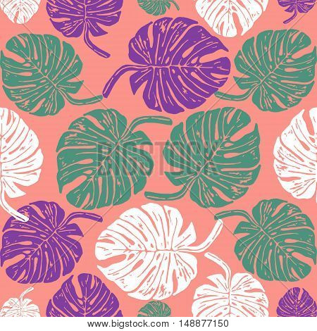 Linocut tropical Monstera leave background. Vector Illustrated tropical plants leaves seamless pattern.